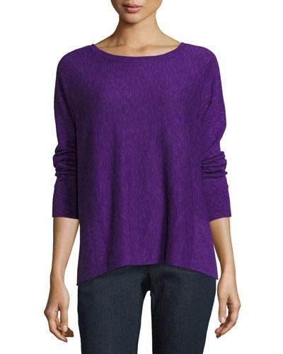 Long-Sleeve Linen-Blend Slub Top w/ Pockets, Petite