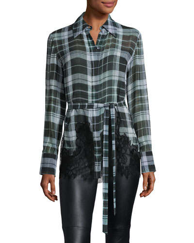 Fluid Tartan Plaid Silk Blouse, Green