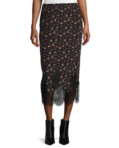 Silk Jersey Midi Skirt, Vintage Floral