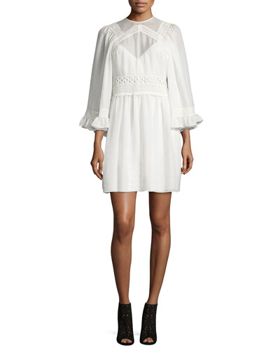 3/-Sleeve Gauze-Knit Mini Dress, Ivory