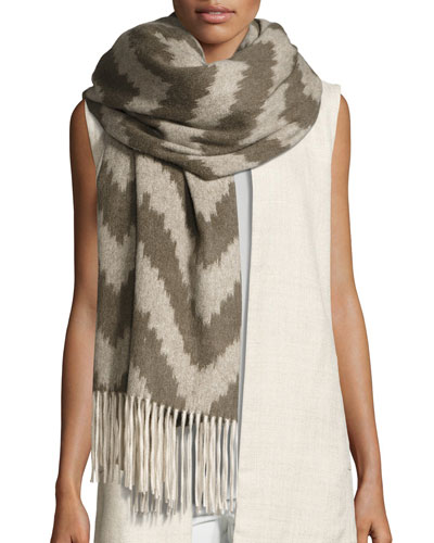 Fisher Project Chevron Cashmere Wrap w/ Fringe