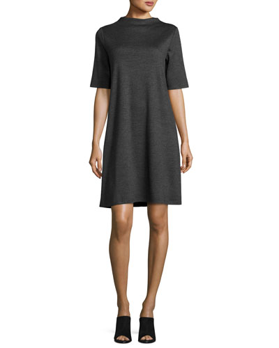 Heathered Wool Funnel-Neck Dress, Charcoal, Petite