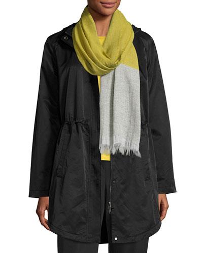 Cotton/Nylon Hooded Jacket, Black, Plus Size