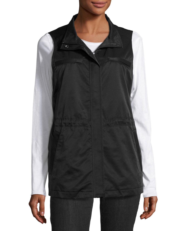 Fleece-Lined Nylon Vest, Black