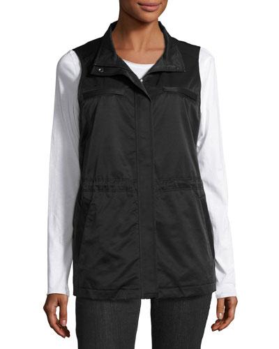 Fleece-Lined Nylon Vest, Black, Petite