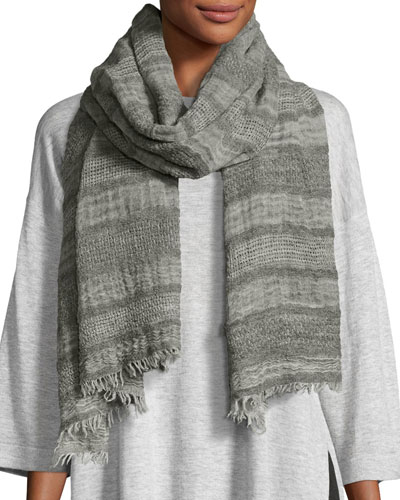 Basket Striped Wool Scarf