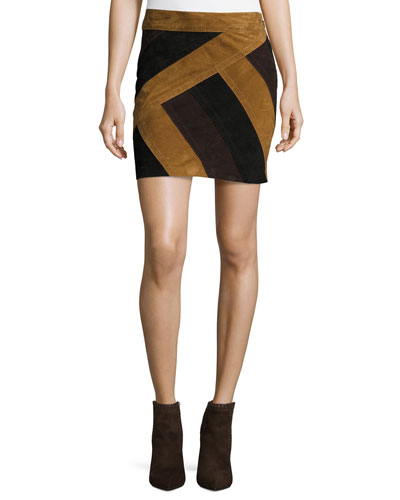 Colorblock Suede Mini Skirt, Military/Multicolor