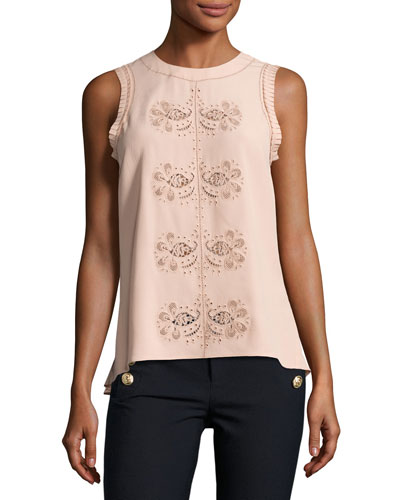 Sleeveless Floral Paisley Crepe de Chine Top, Nude