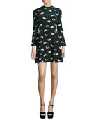 Bell-Sleeve Floral A-Line Dress, Black/Green/Multicolor