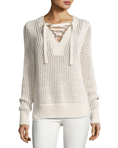 Crochet Lace-Up Pullover Sweater, Natural
