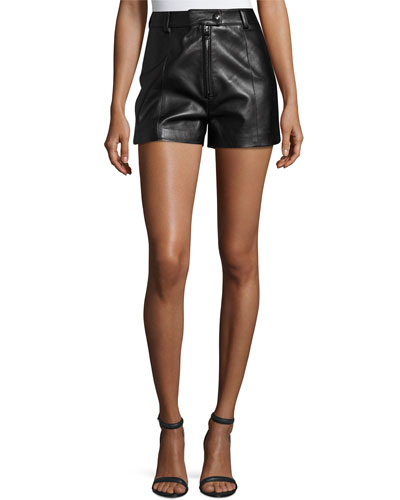 Lamb Leather High-Rise Shorts, Black