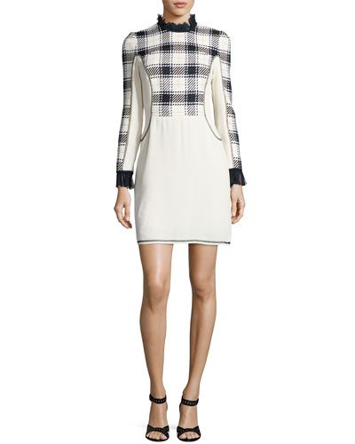 Long-Sleeve Surf Plaid Mini Dress, Midnight/Black/White