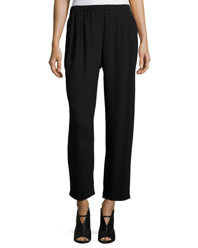 Silk Georgette Wide-Leg Pants, Plus Size
