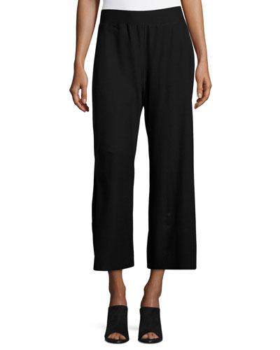 Washable Crepe Wide-Leg Pants, Black, Plus Size