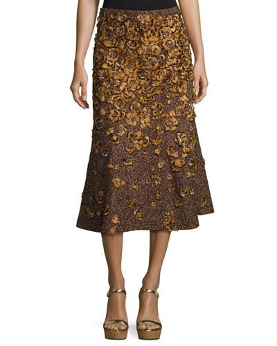Feather-Embroidered Tweed Bouclé Skirt