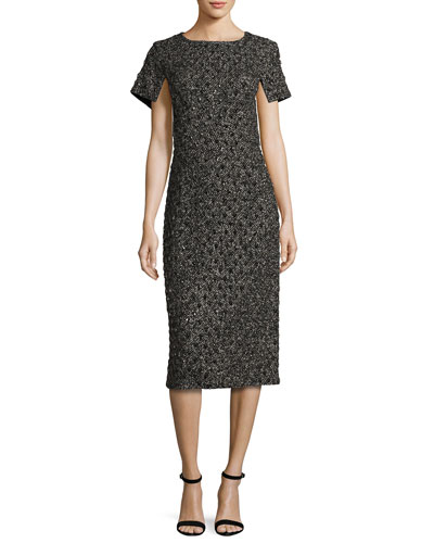 Short-Sleeve Tweed Boucle Dress