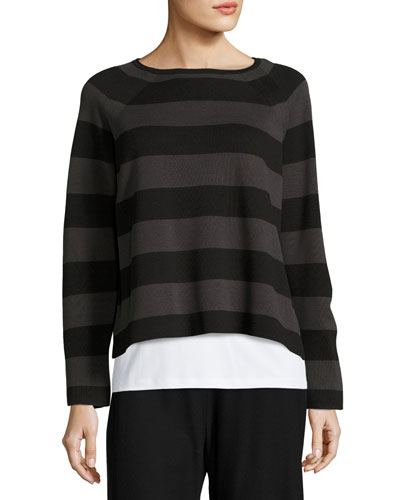 Striped Cropped Long-Sleeve Top, Black/Charcoal, Plus Size