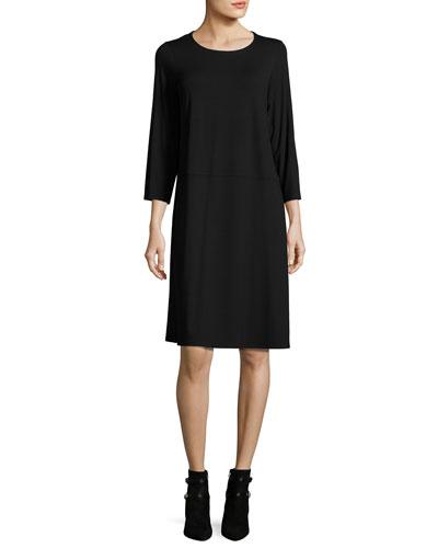 Jersey 3/4-Sleeve Jewel-Neck Dress, Black, Petite