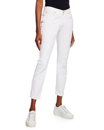 Plus Size Organic Skinny Ankle Jeans, White