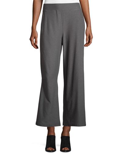Washable Crepe Wide-Leg Pants, Black
