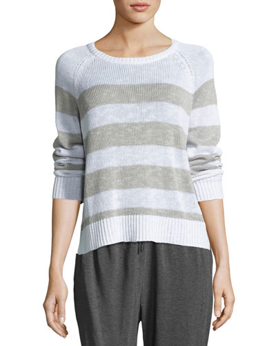 Organic Linen-Cotton Slub Striped Sweater