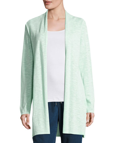 Linen-Cotton Long Cardigan, Aurora, Petite