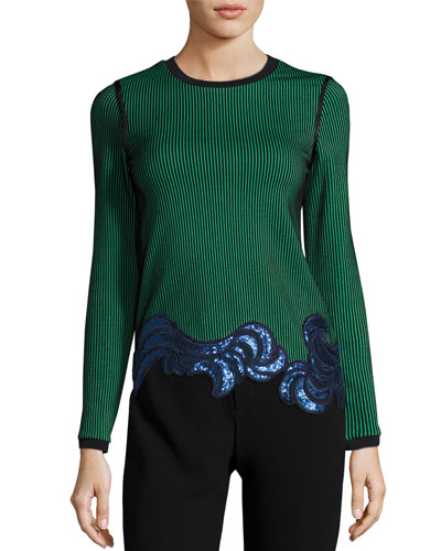 Long-Sleeve Embellished Ribbed Striped Top, Green/Black