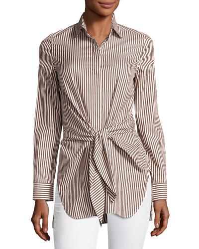 Long-Sleeve Striped Tie-Front Top, Ecru/Brown