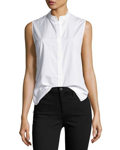 Sleeveless Poplin Twist-Back Top, White