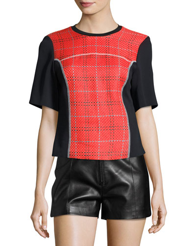 Short-Sleeve Boxy Surf Plaid Top, Poppy