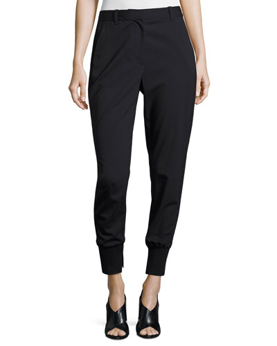 Lightweight Stretch Wool Track Pants, Black