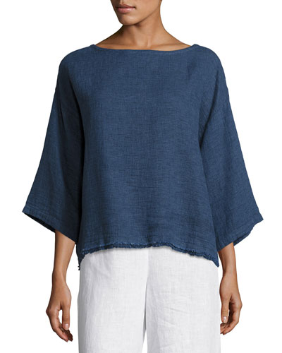 Rustic Frayed-Edge Top, Denim, Petite