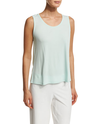 Scoop-Neck Stretch-Silk Tank, Aurora, Plus Size