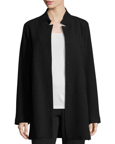 Stand-Collar Gridded Topper Jacket, Black