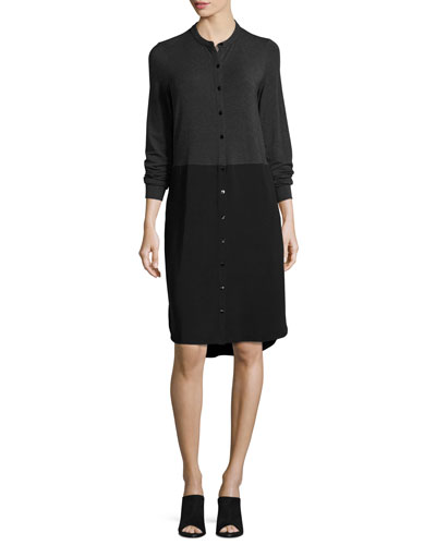 Lightweight Colorblock Shirtdress, Charcoal/Black