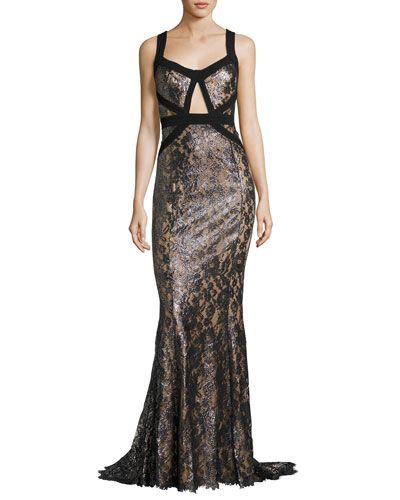 Metallic Lacquered Lace Gown