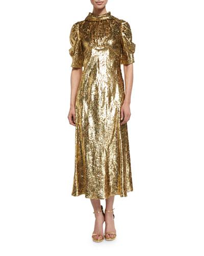 Half-Sleeve Metallic Paisley Midi Dress, Gold