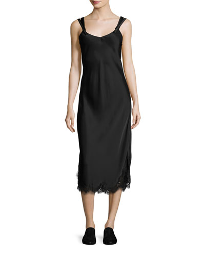 Sleeveless Satin Slip Dress, Black