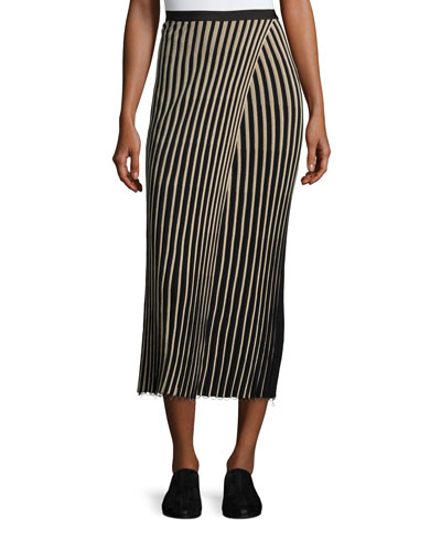 Ribbed Striped Midi Skirt, Black