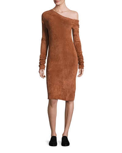 Long-Sleeve Velveteen Sheath Dress