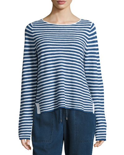Long-Sleeve Striped Top, Denim/White