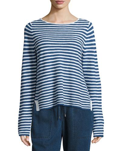 Long-Sleeve Striped Top, Denim/White, Petite