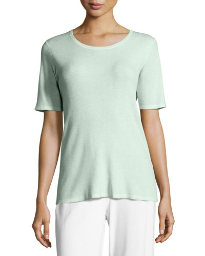 Merino Ribbed Scoop-Neck Top, Aurora