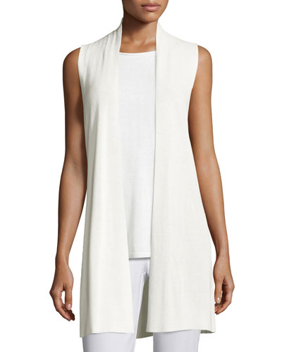 Long Ribbed-Knit Vest, White, Petite