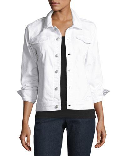 Stretch-Cotton Jean Jacket, White