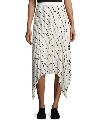 Pleated Printed Silk Midi Skirt, White