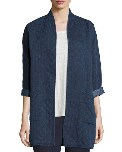 Jacquard Denim Long Jacket, Indigo, Petite
