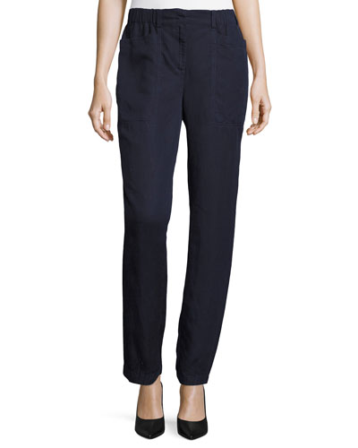Tencel® Linen Straight-Leg Ankle Pants, Midnight, Petite