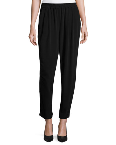 Crinkle Crepe Slouchy Ankle Pants, Petite