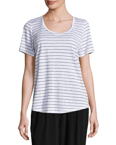 Organic Linen Striped Tee, White/Black, Petite